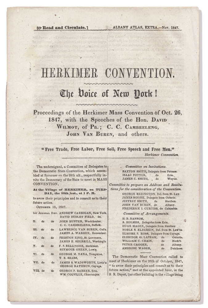 Herkimer Convention. The Voice of New York! Proceedings of the Herkimer Mass Convention of Oct. 26, 1847, with the Speeches of the Hon. David Wilmot, of Pa.; C.C. Cambreleng, John Van Buren, and others. C. C. Cambreleng David Wilmot, John Van Buren.