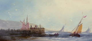 [Two gouaches attributed to John Wilson Ewbank:] Fishing Coast [and:] Large Buoy.