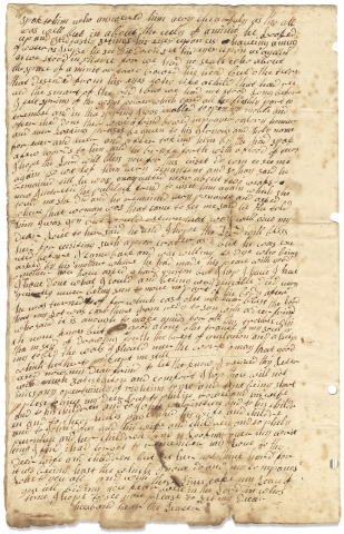 1755 Autograph Letter Written by a Woman Traveling in Philadelphia, likely a Quaker...