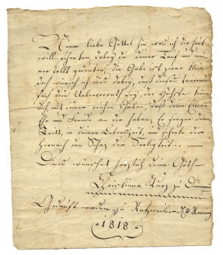 [Illuminated, German-Language Manuscript Taufschein Fraktur:] A Christian Baptismal Wish: I've been baptized and registered, The Book of Life includes me [now]... [opening lines in translation]