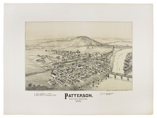 [1895 Bird's-Eye Tinted Lithographic View of Patterson Juniata County, Pennsylvania]. artist T. M. Fowler.