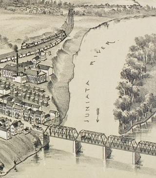 [1895 Bird's-Eye Tinted Lithographic View of Patterson Juniata County, Pennsylvania].
