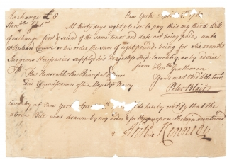 [1764 Autograph Document Signed for Surgeon's Necessaries by Captain Archibald Kennedy, Royal Navy; During the Stamp Act Crisis: Kennedy in charge of protecting the Tax Stamps in New York City]. Archd. Kennedy, Captain Archibald Kennedy.