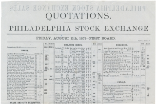 [Archive of 53 Letters and Documents from Stock and Exchange Brokers, John E. Fox & Co. of Philadelphia, to one investor, Henry A. Kelker, 1866 –1873; accompanying this archive is a group of 21 additional letters and documents, 1869 –1874, mostly concerning the recovery of a debt owed to Kelker].