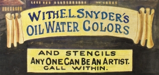 [Women Entrepreneurs, Edith L. Snyder:] Demonstration Here. April. 13–14. With E. L. Snyder's Oil Water Colors and Stencils Anyone Can Be an Artist. Call Within [caption title on painted cloth banner].