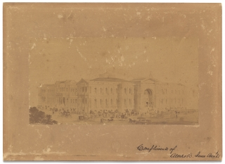 """Compliments of Alonzo B. Jones Archts. [Architects]"" [Inscribed photograph of an..."