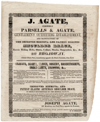 J. Agate, Formerly of Parsells & Agate, Gentlemen's Outfitting Establishment and Manufactory… [opening lines of broadside]. Joseph Agate.