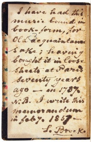 [Collection of 18th Century Secular French Sheet Music bound up and kept by Philadelphian Samuel Breck].