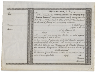 [Two c. 1845–1849 Bond Certificates of the Cherokee Company of North Carolina, from the time of the Indian Removals].