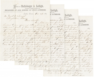 [Autograph Letters Signed written by Topeka, Kansas Lumber Dealer John M. Leidigh to his brother Jacob M. Leidigh, farmer in Stoughstown, Pennsylvania]. John Leidigh.