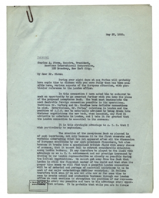 [William Franklin Sands 1915–1926 Investment and Banking Correspondence; American Diplomat-then-Private International Trade Executive.]