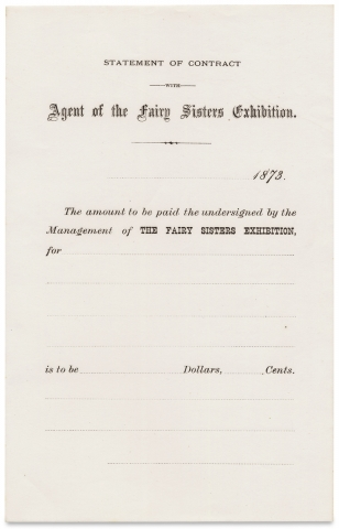 [The Fairy Sisters. Midget Performers Cassie and Victoria Foster, ca. 1872–1873 Promotional Ephemera].