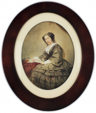 [Nineteenth-Century Watercolor Portrait of Woman holding a Letter].
