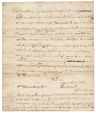 1786 Autograph Letter Signed by John Lamb, American Hostage Negotiator with Algeria in the First Barbary War, to American Chargé d'Affaires in Spain, William Carmichael.
