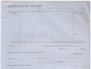 Confederate States Army Blank Form:] Confederate States To [blank] Dr. ... I certify that the...