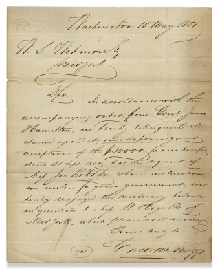 [1851 Letter concerning a Legal Dispute relating to Payment of Republic of Texas Bonds, from Private Bank Corcoran and Riggs].