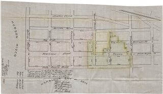 Nineteenth Century Copy of 1854 Land Indenture and Plat Map for Hudson River Front Property in Jersey City, New Jersey