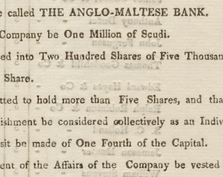 Printed 1809 Circular Establishing the Anglo-Maltese Bank in Malta]. Anglo-Maltese Bank