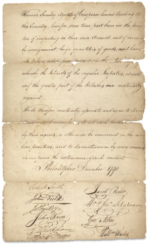 1790 Philadelphia Merchants' and Importers' Declaration of Association against European Agents
