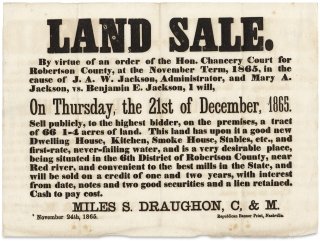 1865 Tennessee Broadside:] Land Sale. By virtue of an order of the Hon. Chancery Court for...