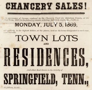 Chancery Sales!  In pursuance of Decrees rendered by the Chancery Court for Robertson County, at its May Term, 1869… [First lines in broadside]