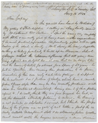 "1845 Autograph Letter Signed from Artist John Mackie Falconer to Hudson River Artist Jasper Cropsey discussing the ""American School of Design"" and giving an Overview of the American Art Scene including Observations on such Artists as Emanuel Leutze, Peter Rothermel, and Thomas Sully. J M. Falconer, John Mackie Falconer, 1820–1903, Jasper F. Cropsey, 1823–1900."