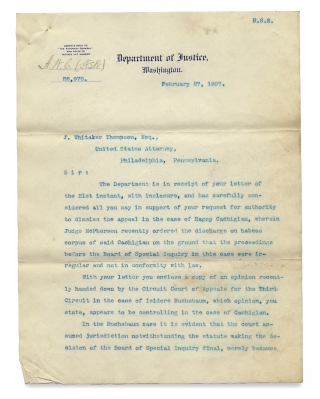 [Solicitor General and Acting U.S. Attorney General Henry M. Hoyt Officially Opines on Medical Issues of Immigration Law and an Immigration Case before the Supreme Court; with Additional Letter]. Henry M. Hoyt.