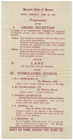 Robert Benchley [and] The Marvelous Child [within:] Harvard Club of Boston ... 1912 ... Programme ...