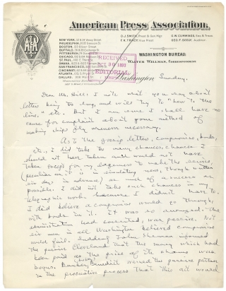 Autograph Letter Signed by Walter Wellman, Pioneer American Aviator. Walter Wellman, 1858–1934.