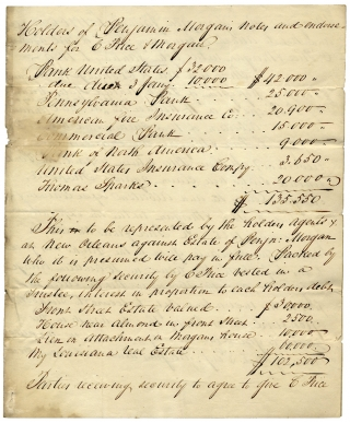 1826 Estate Financial Inventory and Accounts of 19th-Century New Orleans Banker and Millionaire Benjamin Morgan, formerly of the firm of Price and Morgan.