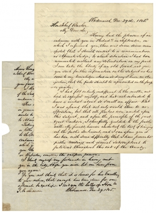 Two 1845 Autograph Letters Signed by Judge Morris Longstreth on his Renomination for a...