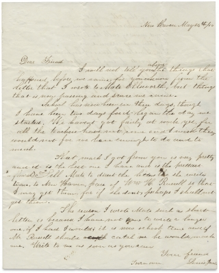[1850 Autograph Letter Signed from Louis Janin, future Comstock Lode Mining Engineer about his Military Schoolmaster William H. Russell, Co-founder of Yale's Secret Society, Skull and Bones]. Louis Janis, 1837–1914, William Huntington Russell, 1809–1885.