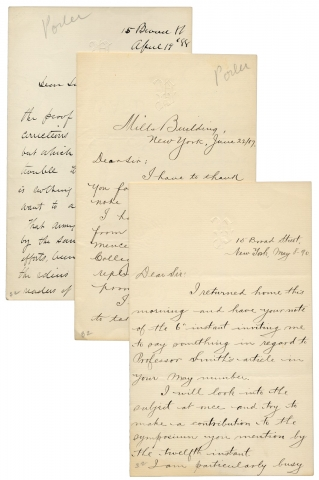 Three Autograph Letters Signed by Horace Porter, Ulysses S. Grant's Secretary and Staff Officer, Breveted Brigadier General, Pullman Railroad Vice President, Diplomat, and Orator. Horace Porter, 1837–1921.