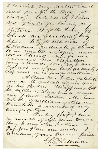 [Autograph Letter Signed from Hawaiian Missionary Samuel C. Damon, publisher of The Friend, the oldest published paper in the Pacific].