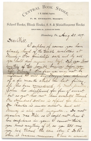 [S. Weir Mitchell, Collection Related to this Prominent Philadelphia Physician with a compelling ALS concerning abortion malpractice].