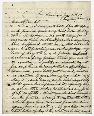 1879 Autograph Letter Signed by Lawyer James B. Townsend, 1849 Member of Gold Rush of Society of...