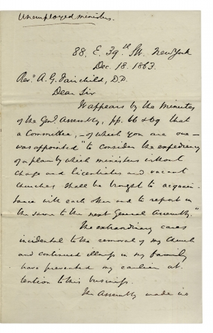 1863 Autograph Letter Signed by Princeton Theological Seminary Director, John Michael Krebs. John M. Krebs, 1804–1867, John Michael Krebs.