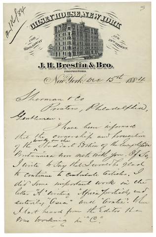 1884 Autograph Letter Signed by Alvan S. Southworth, former Secretary to the American Geographical Society, Travel Writer, Journalist.