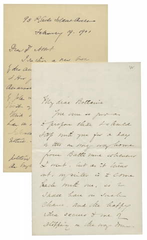 Two Autograph Letters Signed by Susan Coolidge, i.e. Sarah Chauncey Woolsey, Author.
