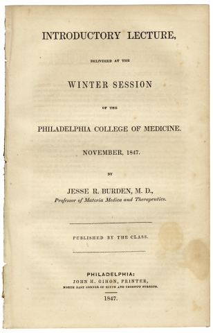 Introductory Lecture, delivered at the Winter Session of the Philadelphia College of Medicine....