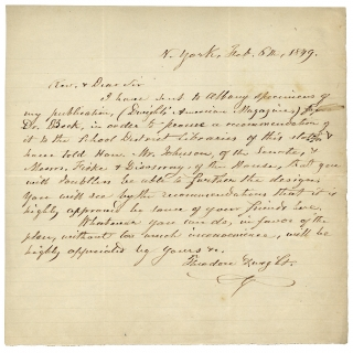 1849 Autograph Letter Signed by Theodore Dwight seeking recommendations for his Dwight's...