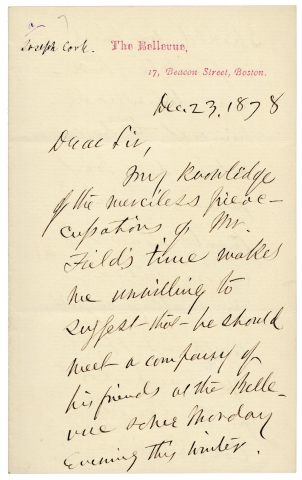 1878 Autograph Letter Signed by Lecturer Rev. Joseph Cook to Boston Publisher James T. Fields on Emerson and Bronson Alcott. Joseph Cook, 1838–1901.