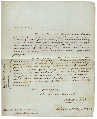 1845 Autograph Letter Signed by Jurist John Kintzing Kane, presiding Judge of the Fugitive Slave...