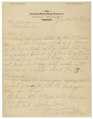 "1926 Autograph Letter Signed by Casey Stengel, Baseball Hall of Famer, from his Early Managerial Career; with Five Letters from other Baseball Executives and a Player. Charles D. Stengel, Charles Dillon ""Casey"" Stengel, 1890–1975, Harry A. Weaver, 1892–1983."