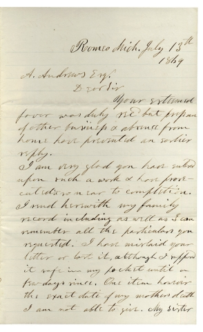 1869 Autograph Letter Signed by former Hawaiian Medical Missionary Seth L. Andrews from Romeo,...