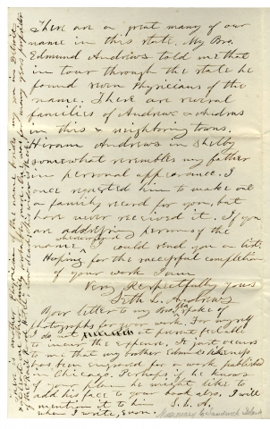 1869 Autograph Letter Signed by former Hawaiian Medical Missionary Seth L. Andrews from Romeo, Michigan.