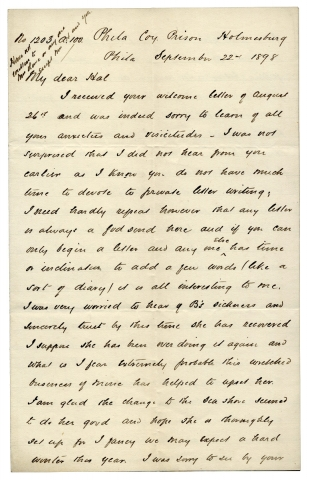 1898 Autograph Letter Signed by a Convict; Life as a Runner in Prison in Philadelphia]. No. 1203...