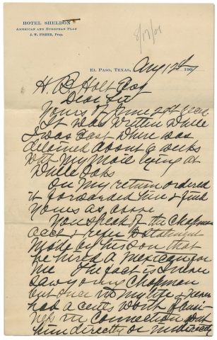 "1901 Autograph Letter Signed by James Bean, Brother of Legendary Judge Roy Bean—""The Law West of the Pecos."". James Bean, ca. 1821–?, James C. Bean."