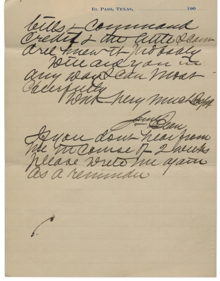 """1901 Autograph Letter Signed by James Bean, Brother of Legendary Judge Roy Bean—""""The Law West of the Pecos."""""""