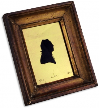 "1802 George Washington Verre Églomisé Silhouette Portrait signed ""C T.""]. Unk"